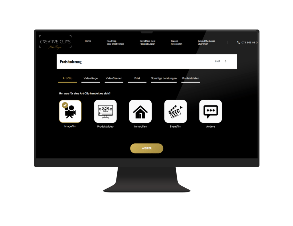 Branchenlösung Online Rechner - Integration - Videoproduktion