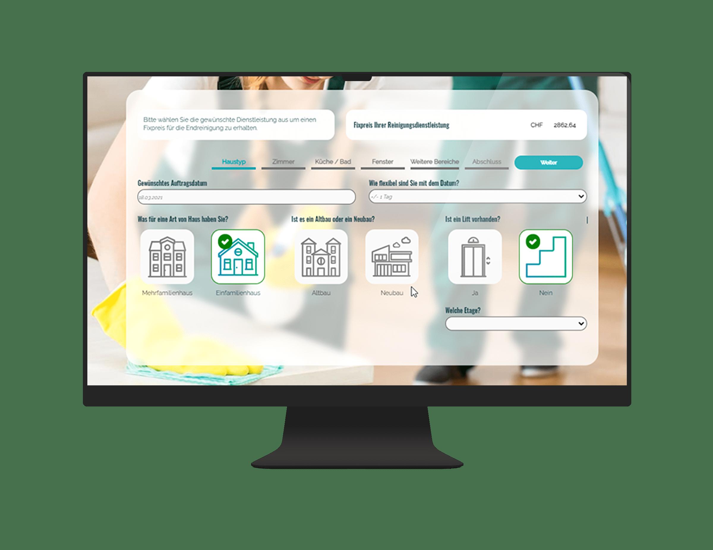 Reinigungsdienstleistung - Online-Rechner - Integration